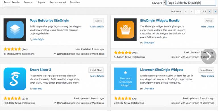 Page Builder by SiteOrigin - список плагинов