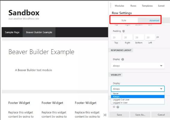 Beaver page builder - sandbox